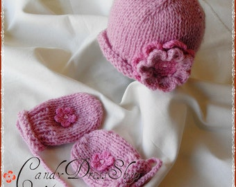 Baby girls pink hat&mittens set, Hat and matching mittens (12 m.to 5T with thumbs) gifts under 30 dollars