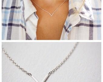 Delicate V Necklace, Minimal necklace, Danity V necklace, Triangle Geometric layering Necklace , V Necklace , Silver Necklace minimal