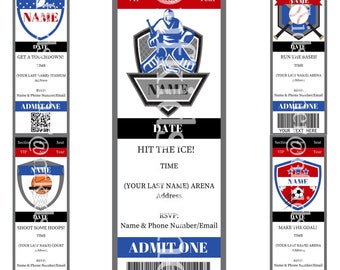 20 Personalized Sports Ticket Birthday Invitations (Hockey, Football, Baseball, Basketball, Soccer)