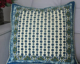 Floral Hand Block Printed Cushion