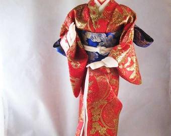 Japanese Geisha Doll Glass Eyes Gofun Red/Blue Silk Kimono & Obi