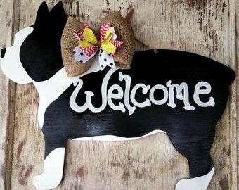 Boston Terrier, Dog Door Hanger, Dog Door Decor, Boston Terrier Decor, Love My Dog Sign, Boston Terrier Door Hanger, Door Hanger, Door Decor