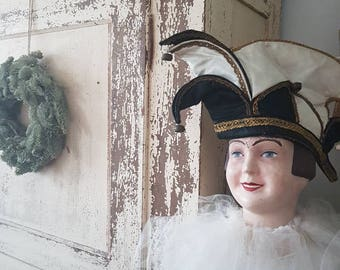 Antique vintage Harlequin Hat Carnival has shabby