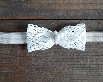 White Lace Bow Headband