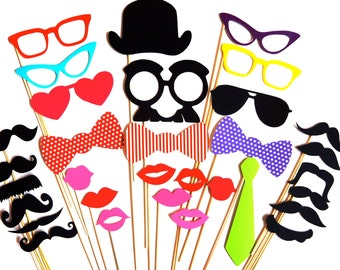 SALE - Fantastic Photo Booth Props - 32 piece prop set - Birthdays, Weddings, Parties - Photobooth Props