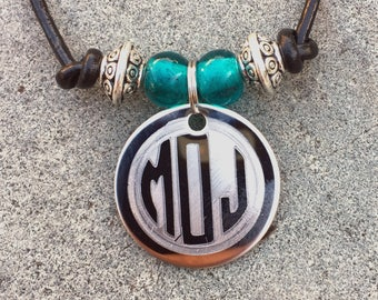 Monogram Necklace, Personalized Leather Choker, Engraved Round Monogram Necklace with Birthstones, Custom Leather Cord Necklace