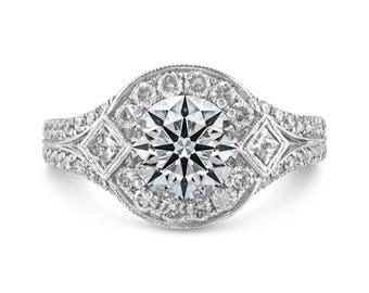0.87ct Side Diamonds in 14K White Gold Semi Mount Filigree Halo Engagement Ring (NO CENTER STONE)