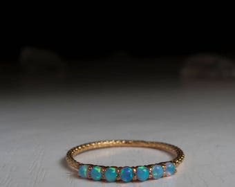 Half eternity ring Opal ring - blue stone ring in Sterling Silver, solid Gold or 14K gold Vermeil