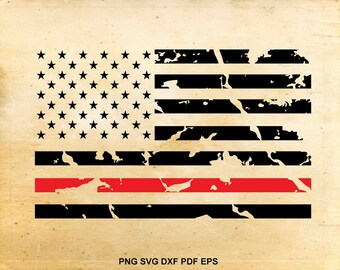 Red line flag svg, Distressed american flag svg, Fireman flag, Firefighter svg file, Fireman clipart, Files for Cricut, Files for Silhouette