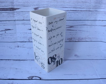 Personalized Ceramic Vase with Quote and Wedding Date Information with Arrows