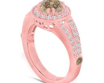 Fancy Champagne Brown Diamond Engagement Ring 1.56 Carat 14K Rose Gold Handmade Unique Halo Pave Certified