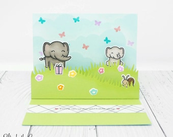 3D Card, Pop Up Card, Mothers Day Card, Birthday Card, Card For Mom, Happy Mothers Day, Elephant, Handmade Greeting Cards, Lawn Fawn Card