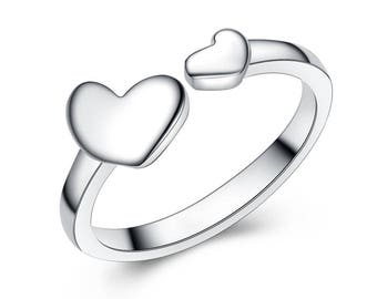 DOUBLE HEART RING, silver-plated ring, Conformation, Graduation gift, Birthday gift, Bridal ring, pinkie ring, small finger ring