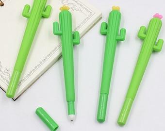 Green Cactus Gel Pen 0.38mm Black Ink Pink or Yellow Flower