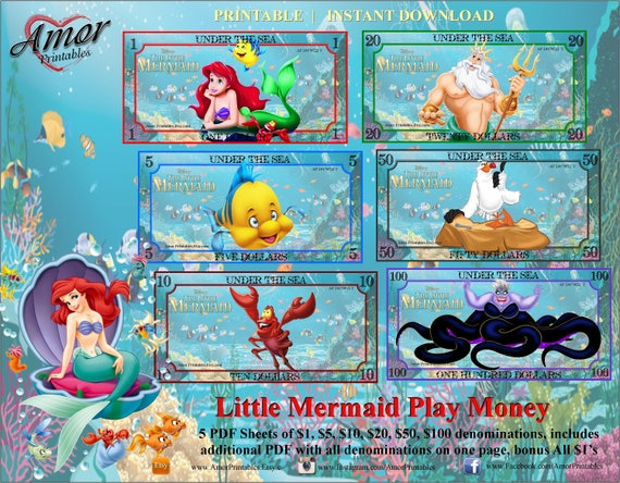 Play Money Little Mermaid Bonus Coloring Pages Party