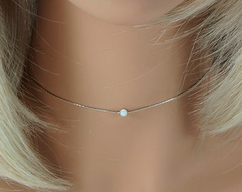 Sterling Silver Choker, Silver and Opal Choker, Opal Choker, Opal Choker Necklace, Silver Choker, Minimal Silver Necklace, Opal, Valentines