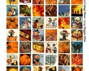 Halloween Collage Sheet - Vintage Images - Printable 1 Inch Squares - Autumn, Pumpkins, Black Cats, Witches, Children - Digital Download