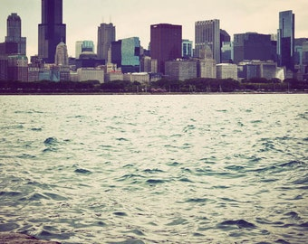 Chicago photography, vertical photo print, cityscape, skyline, Illinois art, Chicago photograph - City from Afar