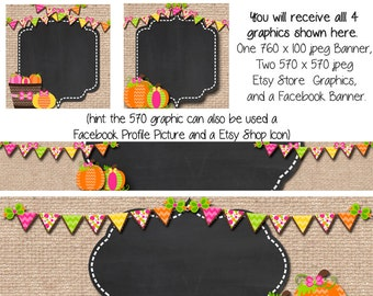 Fall Etsy Set, Fall Pumpkin, DIY Blank Etsy Banner and Facebook Set - Burlap Pumpkin Fall - Customize for your Store
