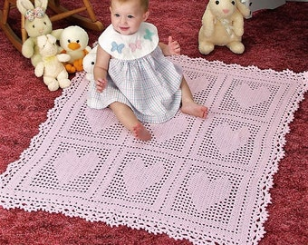 Crochet Pattern - Loving Hearts Baby Blanket/Afghan