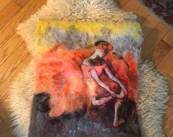 vintage hand made felt art, bright orange and red and yellow, with sitting ballerina, feminist decor, wall decor
