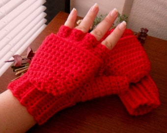 Rote Wolle Cabrio Handschuhe - roter Wolle Mischung Cabrio Handschuhe - roter Wolle fingerlose Handschuhe - rote Handschuhe - roter Wolle Handschuhe
