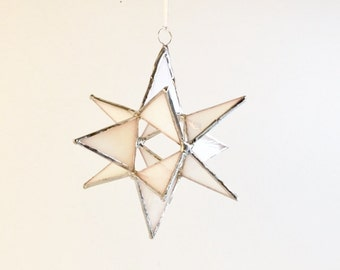 12 Point Moravian Star. Iridescent White Star. 4,5""