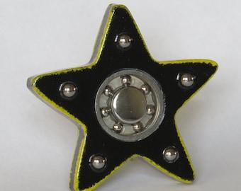 EDC Fidget Spinner - Star (Black with Yellow Highlights)