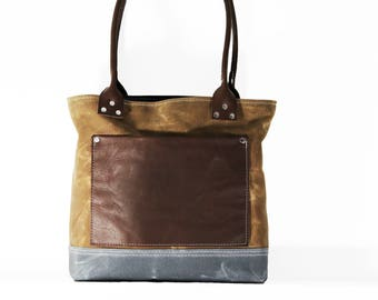 """Waxed canvas tote - heavy weight waterproof canvas bag and genuine leather  """" OLD COUNTRY BAG """""""
