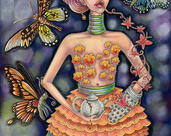 """The Honey Tongued Hostess - an 8x 10"""" ART PRINT of a mysterious female pouring tea and falsehoods or truths surrounded by huge butterflies"""