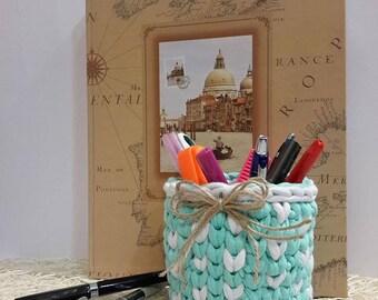 Crochet T shirt yarn mini basket