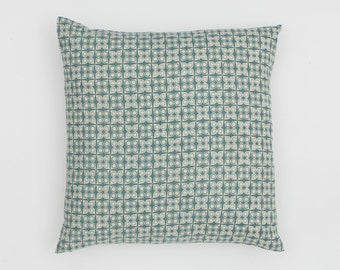 Damla Handscreen Printed Cushion Cover - Duck Egg Blue  50x50cm
