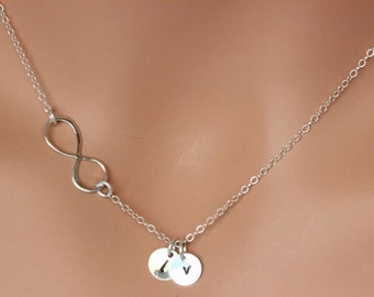 Sideways Infinity  Initial Necklace - Personalized Infinity necklace initial discs - infinity necklace with names - Best friend Gift