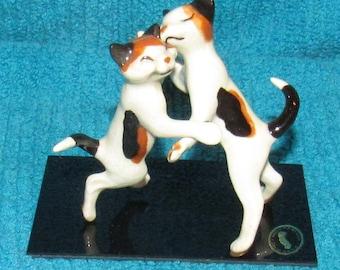 Vintage Hagen Renaker Miniature Figurines, Dancing Calico Cats on Plexi Base