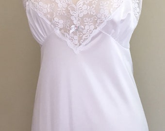 Long White Lace Nightgown Slip Nightie Vintage 50s Romantic Floor Length Size Small S