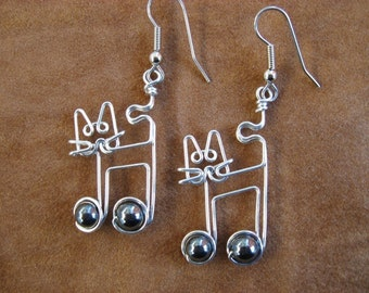 JAZZ CAT earrings with music note  wire wrapped music earrings