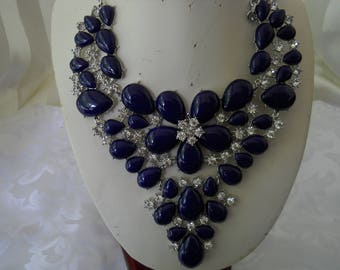 Blue Chrona Stones Flower Bib Necklace #286