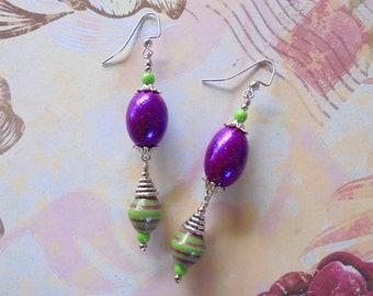 Purple and Green Easter Egg Earrings (4317)