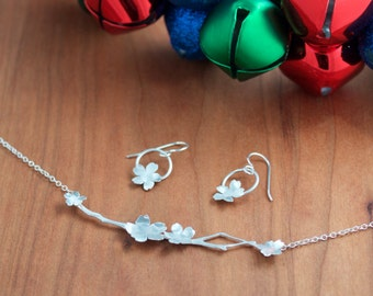 Silver Sakura Necklace and Earring Set, Japanese Cherry Blossom Set
