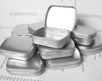 Mini Metal Hinged Tin, 20ml Small Storage Box In Silver Color (Set Of 50 Tin Boxes)