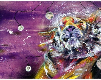 "Tiger art print - Tiger Wall Art - Tiger Artwork - ""Paperless Tiger"" by Black Ink Art"