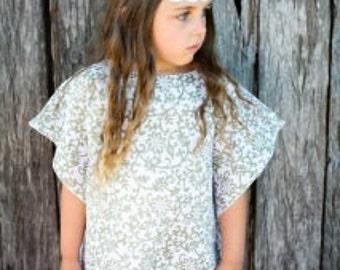 Olive Vines Print Kaftan - Girls Dress - Summer Dress