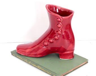 Cute Burgundy Glazed Victorian Boot Pottery Planter