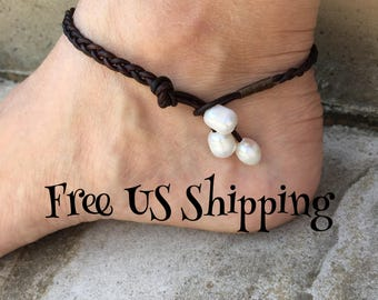Braided Leather Pearl Anklet Pearl Jewelry Pearl Ankle Bracelet Leather Anklet Bohemian Anklet Leather Jewelry Made in USA Cute Anklet