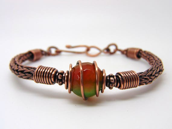Achat-Draht umwickelt Armband Viking stricken Armband