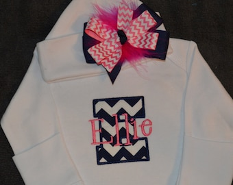 PERSONALIZED Coming Home Infant Gown and Cap with Maroubu Bow Monogrammed