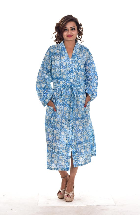 Women Cotton Floral Block printed Long Kimono Dressing Gown