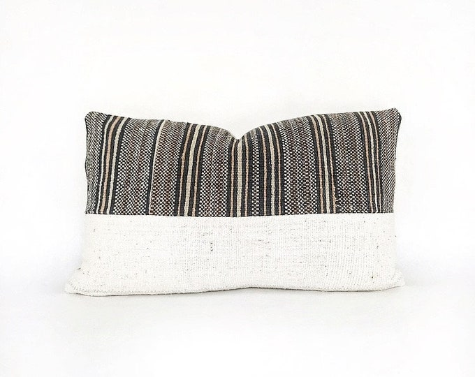 Vintage Hmong Hill Tribe Handwoven Stripe Textile And African Mudcloth Lumbar Pillow Cover 12x20