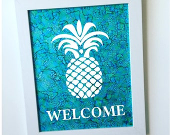 Hand-painted Framed Pineapple Ink Painting / Pineapple Wall Art with Frame / Pineapple Welcome Sign