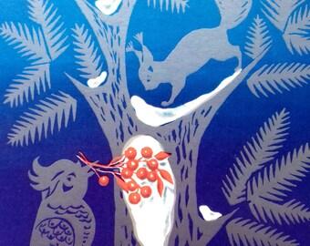 New Year Postcard, Bird, Squirrel, Postcard New Year's, Christmas, Unused, Greeting Card by A. Cantorov - 1969